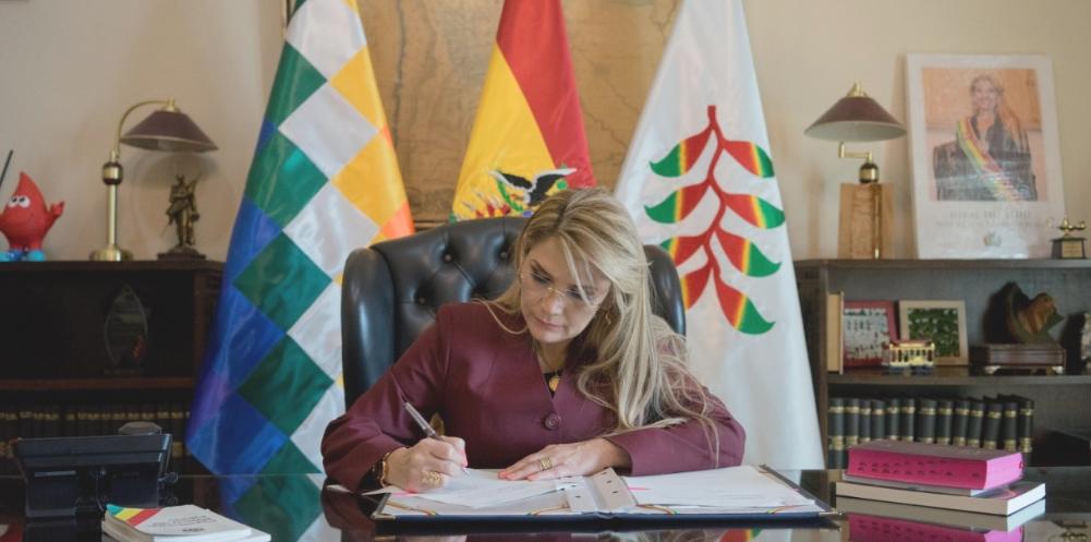 Añez promulga ley que reasigna recursos del IDH para enfrentar al coronavirus