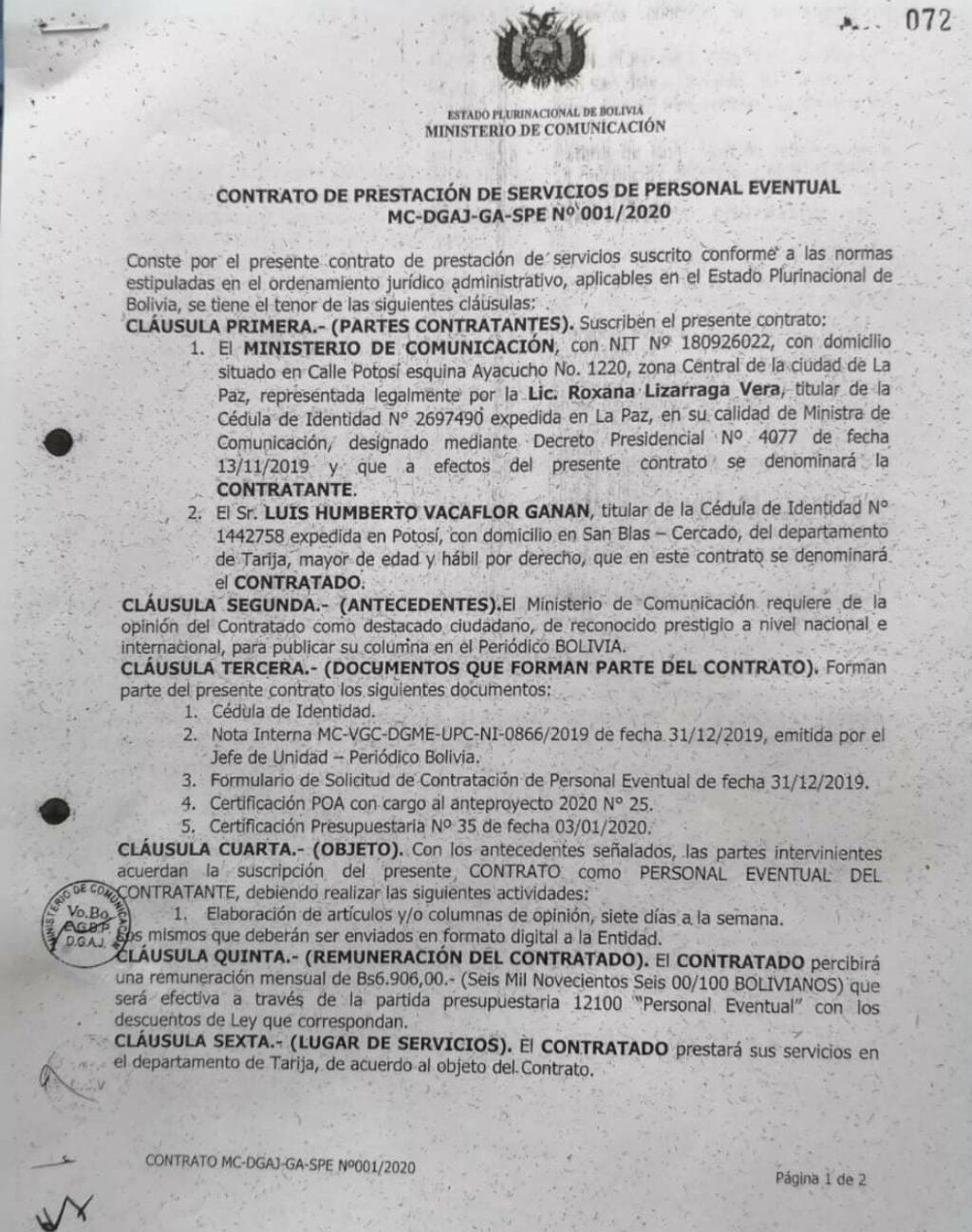 Contrato devela que periodista Humberto Vacaflor cobró del Estado Bs 82 mil por columnas de opinión