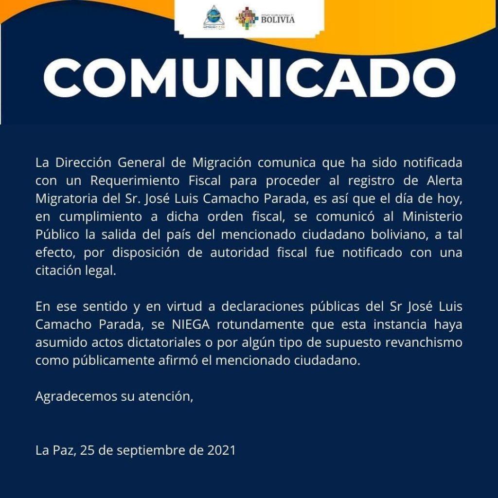 Migración niega veracidad de declaración de padre de Camacho sobre acciones dictatoriales en su contra por aplicación de alerta migratoria